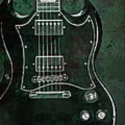 Gibson Sg Standard Green Grunge With Skull Art Print