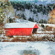 Gifford Covered Bridge In Winter Art Print