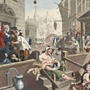Gin Lane, Illustration From Hogarth Art Print
