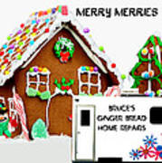 Gingerbread House Xmas Card 2 Art Print