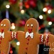 Gingerbread Men In A Line Art Print