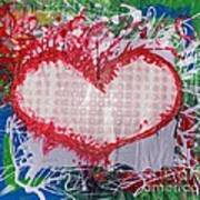 Gingham Crazy Heart Shrink Wrapped Art Print