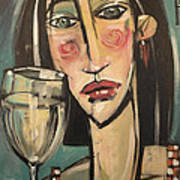 Gingham Girl With Wineglass Art Print