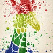 Giraffe Splash Art Print by Aged Pixel