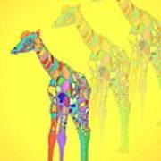 Giraffe X 3 - Yellow Art Print