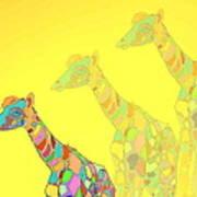 Giraffe X 3 - Yellow - The Card Art Print