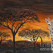 Giraffes At Sunset Art Print