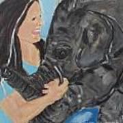 Girl And Baby Elephant Art Print