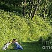 Girl And Dog On Trail Art Print
