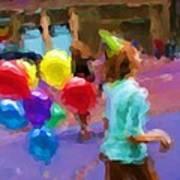 Girl And Her Balloons Art Print