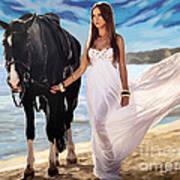 Girl And Horse On Beach Art Print