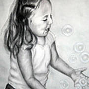 Girl Blowing Bubbles II Art Print