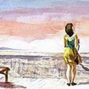 Girl Enjoying The View Art Print