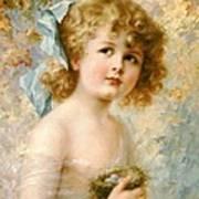Girl Holding A Nest Art Print