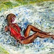 Girl In A Red Swimsuit Art Print
