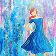 Girl In Blue Dress Art Print