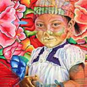 Girl In Flowers Art Print