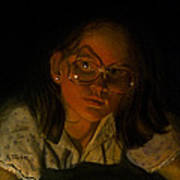 Girl In Glasses In Candlelight Art Print