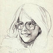 Girl In Glasses Art Print