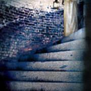 Girl In Nightgown On Circular Stone Steps Art Print