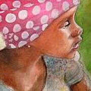 Girl In Pink Bandanna Art Print