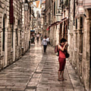 Girl In Red In The White Streets Of Dubrovnik Art Print