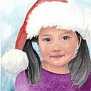 Girl In Santa Hat Watercolor Portrait Art Print