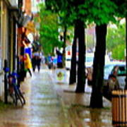 Girl In The Yellow Raincoat Rainy Stroll Through Streets Of The City Montreal Scenes Carole  Art Print