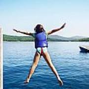 Girl Jumps In The Lake Art Print