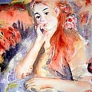 Girl Lounging  After Renoir Art Print