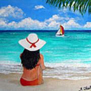 Girl On A Turquoise Beach Art Print