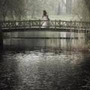 Girl On Bridge Art Print