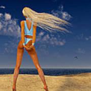 Girl On The Beach... Art Print