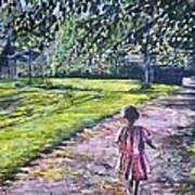Girl On Trail Art Print by Linda Vaughon