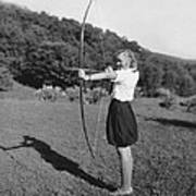 Girl Scout With Bow And Arrow Art Print