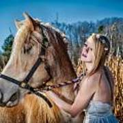 Girl With A Horse Art Print