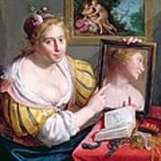 Girl With A Mirror, An Allegory Art Print