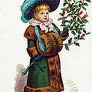 Girl With Holly Art Print