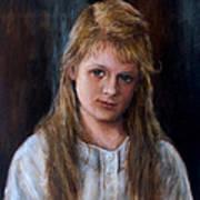 Girl With Long Brown Hair Art Print