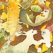 Girl With Rabbits Art Print