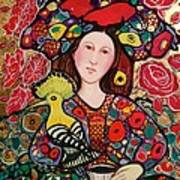 Girl with red hat and yellow bird Art Print