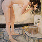 Girl With The Golden Towel Art Print