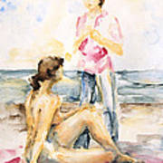 Girlfriends At The Beach Art Print
