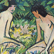Girls In The Open Air Art Print by Otto Mueller or Muller