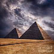 Giza Pyramids In Cairo Egypt Art Print
