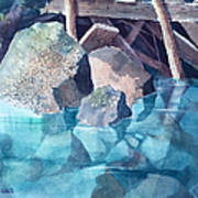Glacier Stream Rocks Art Print