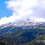 Glaciers In The Clouds. Mt. Rainier National Park Art Print