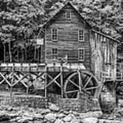 Glade Creek Grist Mill Bw Art Print
