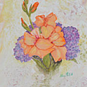 Gladioli And Hydrangea Art Print