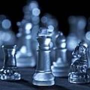 Glass Chessmen Arranged On Black Background Art Print